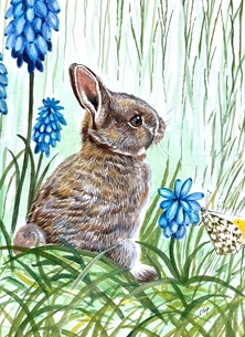 Bunny with blue flowers
