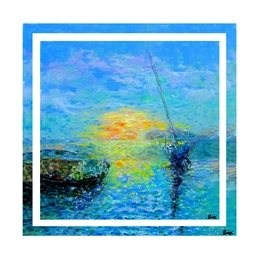 art sea, boats, sunset, ships, coast, painting, personalised online greeting card