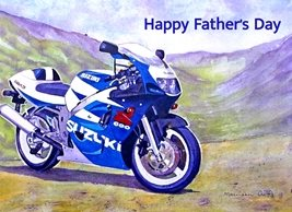 Fathers  motorbike motorcycle sport blue green black hills for-him personalised online greeting card