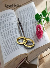 Congratulations Book Rings Pen Rose Pink White Gold Happy  z%a personalised online greeting card