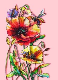 Funky honeybees and colorful poppies -pink