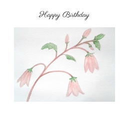 Birthday for-her watercolour pink Campanula flowers personalised online greeting card