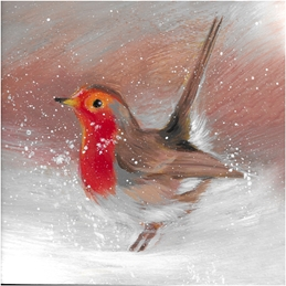 Mary Dodd Art Christmas Robin Christmas Christmas Robin Winter Snow bird art painting  personalised online greeting card