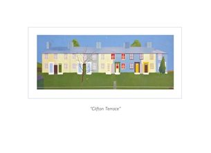 Art Essex scene, Clifton Terrace, Wivenhoe, terraced houses, railway cutting, blank card, essex village personalised online greeting card