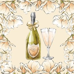 wedding Champagne, Flutes, Drink, Floral,  personalised online greeting card