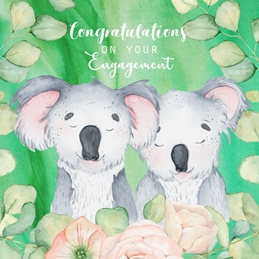 Engagement ENGAGEMENT KOALA animals personalised online greeting card