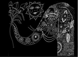 General Black and white,Hindu,Elephant,flowers ,sun,happy,meditation,spiritual personalised online greeting card