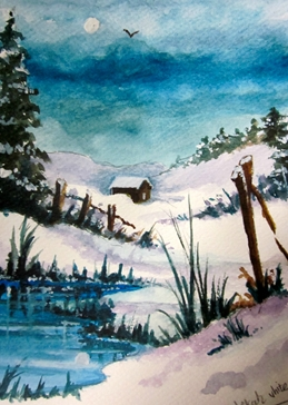 Art Christmas snow  landscapes  winter christmas for-him for-her  general blank all occasions fineart white countrysides trees blue white pines water chalets logcabins house ice grass personalised online greeting card