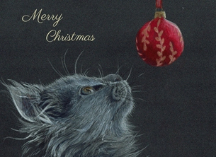 Sophie Louise Creates A hint of Christmas Christmas cat, kitten, bauble, animal, fluffy cat, baby animal personalised online greeting card