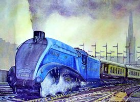 art artwork trains locomotive engine  for-him personalised online greeting card