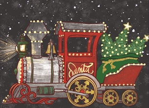 Christmas Snowfall, North Pole, Santa, Steam Engine, Choo Choo, Train, Winter, Holidays personalised online greeting card