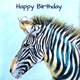 Birthday artwork zebra animals wildlife for-him for-her personalised online greeting card