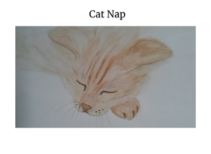 art cats pets sleeping sketch watercolour  personalised online greeting card
