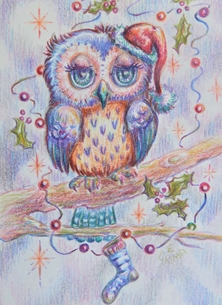 general owl, bird, hat, tree, stocking, cute, whimsical, for-him, for-her, for-children personalised online greeting card