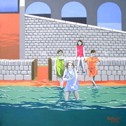 Art birthday Alan Taylor, poster painting, seaside, bathing girls, 1960s image, Tenby beach, contemporary art card personalised online greeting card