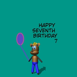 Birthday ^dog^,^baloon^,^blue^,^seven^ personalised online greeting card