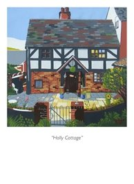 art half-timbered cottage, old english cottage, worcestershire,  personalised online greeting card