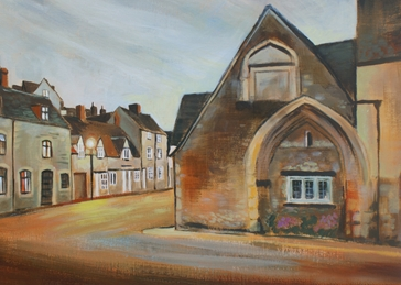 art Alms House & St. John's Street,  Malmesbury painting, fine art  personalised online greeting card