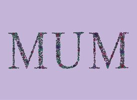Dottie Mottie Mum purple background Mothers mum mother's day mom mummy birthday floral flowers daisy gerbera green pink purple garden chintz pretty thank you personalised online greeting card
