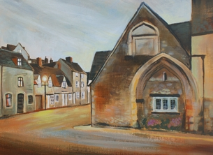 Art Alms House Dawn, Malmesbury fine art painting personalised online greeting card