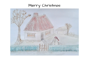 Christmas winter snow for-him garden cottage for-her personalised online greeting card