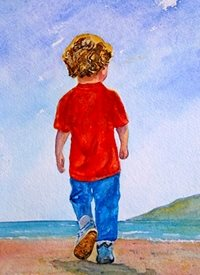 General artwork boy child beach for-children personalised online greeting card