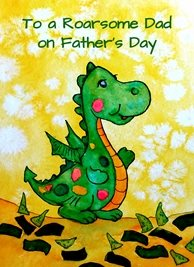 Fathers dinosaur  green red yellow father dad for-him   personalised online greeting card