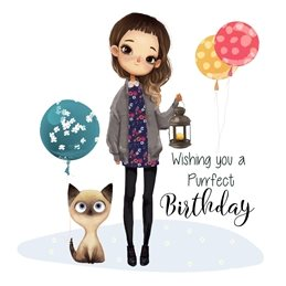 Birthday Cat, Girl, Balloons children personalised online greeting card