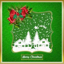 Christmas Green, Gold, White, Snow Scene personalised online greeting card