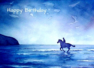 Birthday artwork horse animals pets beach sea sky coast  for-her blue white personalised online greeting card