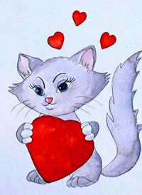 Art cats kittens love animals pets z%a personalised online greeting card