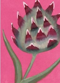 General artistic painting abstract pink cardoon vegetable flower nature personalised online greeting card