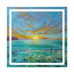 art dawn, sunrise, beach, sea, dog, dog walking, personalised online greeting card