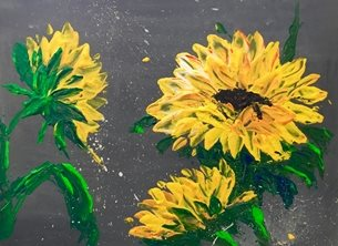 Kay Ashton Fine Art Sparkin' Sunflowers (wide, no border) arty artistic  contemporary , sunflowers, sunflower, yellow, grey, impasto, palette knife, original, flowers, floral, bright, colourful, cheerful personalised online greeting card