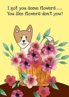 General puppy flowers funny dogs animals well birthday mothers personalised online greeting card
