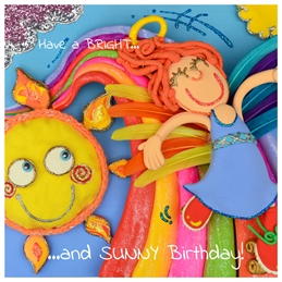 birthday childrens Children's cards, children's birthday, angels, son, daughter, young children, cartoons, comics, 3d art, 3d design, 3d sculpture, textile cards, personalised online greeting card