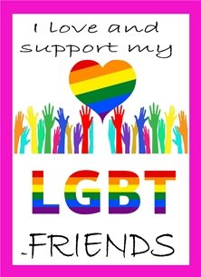 LGBT LGBT Support Heart Hands Rainbow of colours  personalised online greeting card