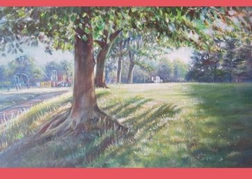 art landscape, park, trees, sun, summer, play outside, playground, play area, green grass, outside, for-him, for-her, for-children personalised online greeting card