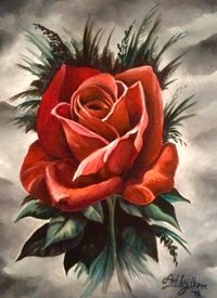 Art By Three  Gothic Red Rose art red roses black gothic flowers oils art  for-her blank general all occasions mums nans aunts sisters her valentines girlfriends birthday nature floral petals single blooms leaves for-her personalised online greeting card