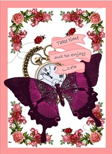 General Butterfly Pocket Watch Flowers Ladybird Purple Red Pink Black Green Inspirational  personalised online greeting card
