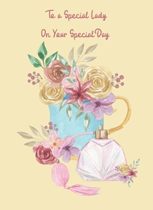 Her Nibs  Special Lady  Tea Cup,Perfume Bottle, personalised online greeting card