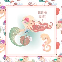 Snappyscrappy Birthday Card - Cards for Children Birthday Children Mermaid, Fantasy, Mystical, Girl personalised online greeting card