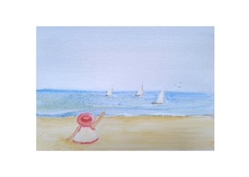 Art boats girl children beach  personalised online greeting card