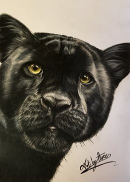 art Black panther big cats wildlife animals jungle safari zoos yellow eyes kids  dad for-him for-her for-child personalised online greeting card