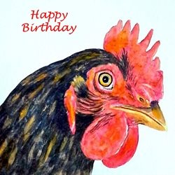 Birthday artwork hen  birds farmyard for-him for-her personalised online greeting card