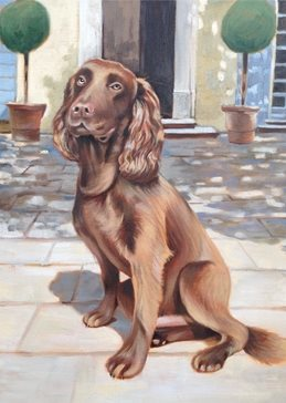 art general Cocker Spaniel brown dog painting art card birthday  portrait dogs personalised online greeting card