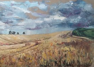 artistic field, gold, corn, wheat, Hampshire, north, downs, nature, trees,  fine, oil, painting, grey, gray, sky, summer, stormy, warm, landscape, impressionist, colour personalised online greeting card