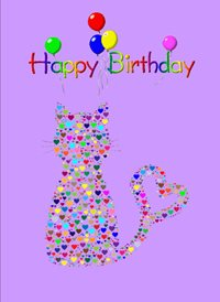 birthday Cats Hearts Balloons animals  z%a personalised online greeting card