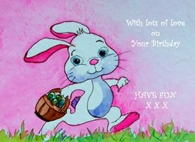 Birthday Children  rabbit animals  funny  dad son  granddad  uncle mum daughter Nan aunt friend for-children personalised online greeting card