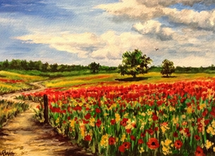 Art By Three  Poppy Fields Art poppies red countryside landscapes art blank general all occasions for-him for-her mums nans aunts sisters  summer flowers fineart meadows trees sky blue grasses fields clouds nature remembrance  personalised online greeting card